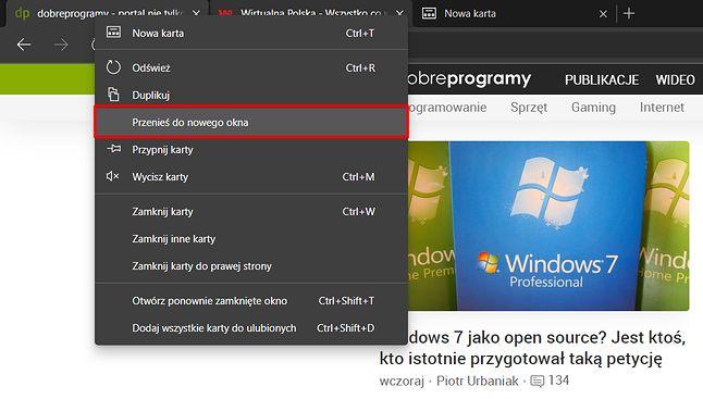 Przenoszenie grupy kart do nowego okna w przeglądarce Microsoft Edge.