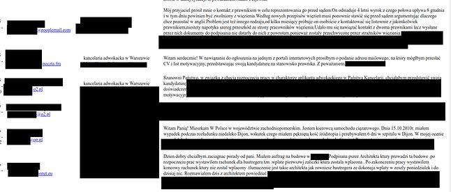 Upubliczniona korespondencja zawiera wiele szczegółów konkretnych spraw, źródło: Niebezpiecznik.
