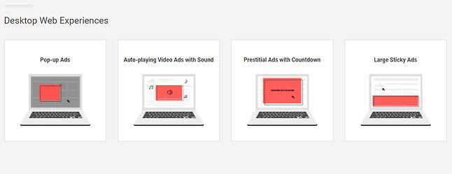 Przykłady najmniej pożądanych typów reklam na desktopach. Źródło: Coalition for Better Ads