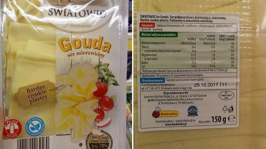 W Biedronce kupimy także goudę mierzwioną ze składem identycznym jak ser w plastrach