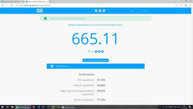 Microsoft Edge Dev - Basemark Web - Wynik: 665.11