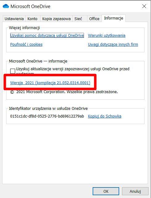 Numer wersji klienta OneDrive'a można sprawdzić tutaj, fot. Oskar Ziomek.