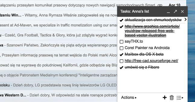 Obecna lista zadań w Gmailu