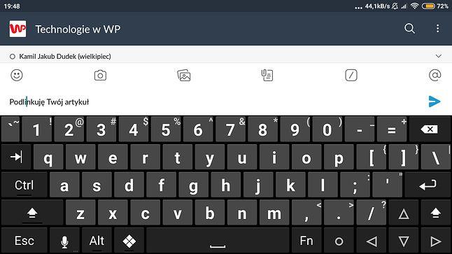 Hacker's Keyboard w trybie poziomym to już prawie klawiatura PC