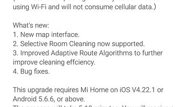 Xiaomi Mijia Roborock Vacuum Cleaner 2 (S502-00) — test robota sprzątającego (AKTUALIZACJA) - Dziennik (niektórych) zmian wprowadzanych w najnowszej aktualizacji.