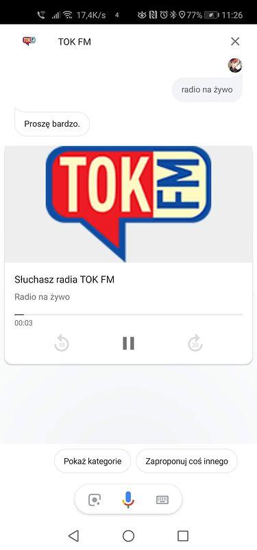 Widok odtwarzania radia na żywo