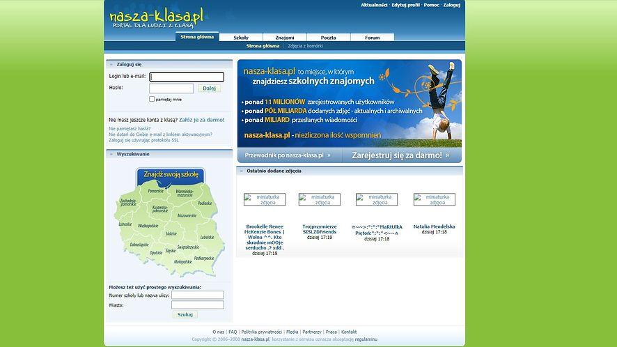 Nasza-Klasa.pl, strona główna w 2008 roku