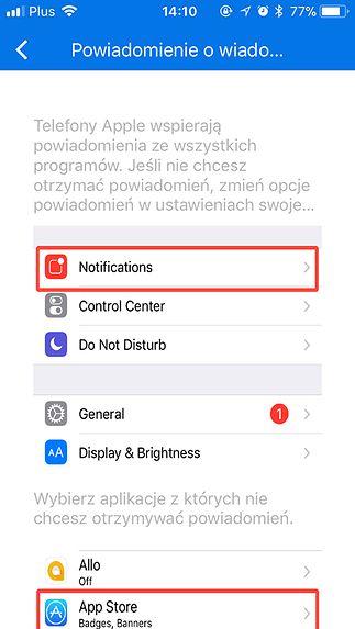 Systemowe powiadomienia w iOS