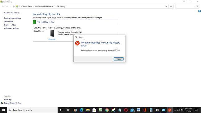 Problemy z backupem danych w Windows 10, fot. AKS8/answers.microsoft.com.