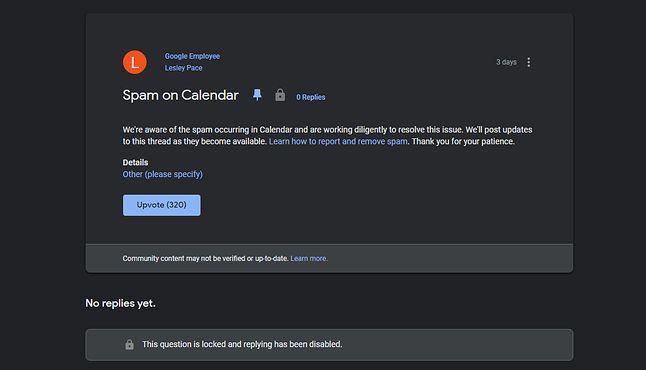 Google potwierdził problem spamu w Kalendarzu na stronie pomocy technicznej.