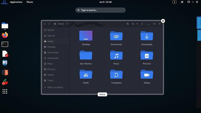Kali Linux z GNOME w ciemnym wariancie