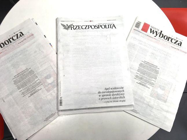 Białe strony poniedziałkowych gazet (Kamil Dudek)