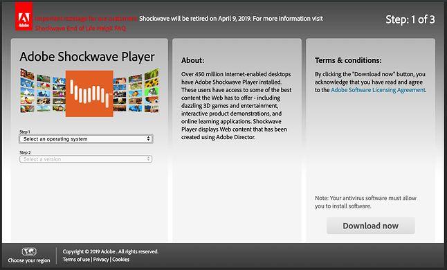 Informacja o końcu wsparcia na stronie pobierania Shockwave Player