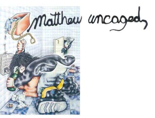 Karykatura Matthew Smitha w Sinclair User. No raczej przeróbka okładki gry.