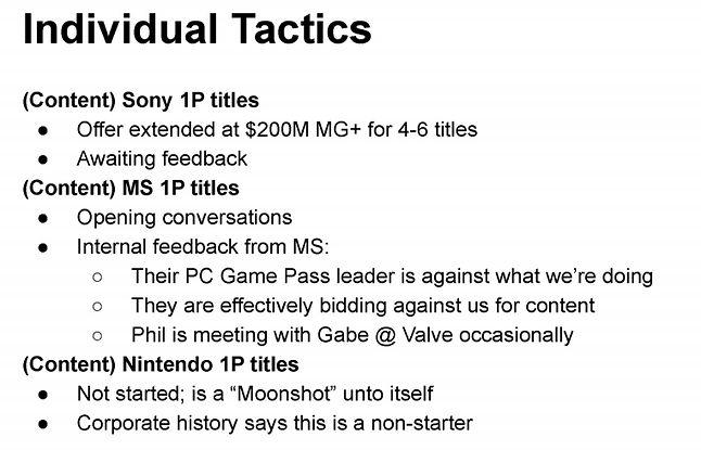 Fragment dokumentu opisującego fakt złożenia przez Epic oferty Sony