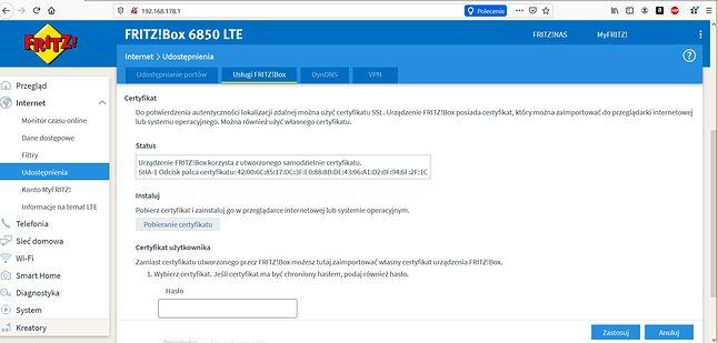 Router FRITZ!Box 6850 LTE - usługa FRITZ!Box