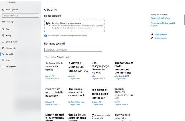 Ustawienia czcionek. Dodatkowe można pobierać z Microsoft Store.