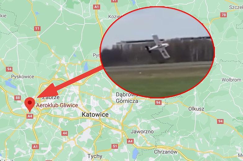 """Wypadek na lotnisku w Gliwicach. Samolot """"porwany przez wiatr"""""""