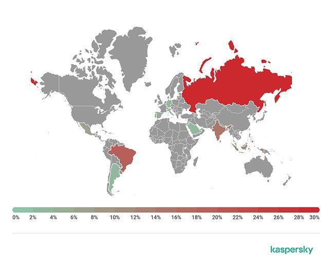 Lokalizacje, w których wykryto Shoppera, źródło: Kaspersky Lab.