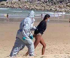 Dramatyczne sceny na plaży. Zatrzymali młodą kobietę