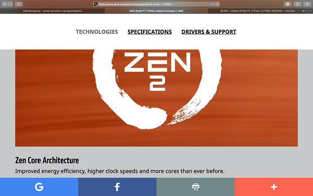 Logo Zen 2 na karcie produktowej Ryzena 7 3700U wyraźnie wprowadza w błąd, bo czip ten korzysta ze starszych rozwiązań Zen+
