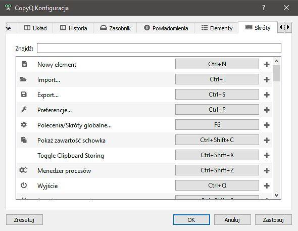 Wiele funkcji w programie można kontrolować skrótami klawiaturowymi.