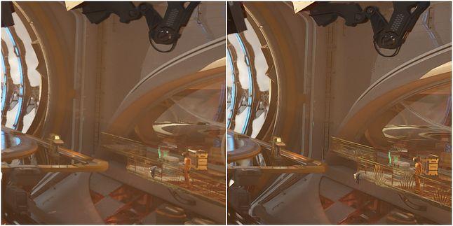 Dynamika umiarkowana, obiekty w tle; po lewej – TAA, po prawej – DLSS
