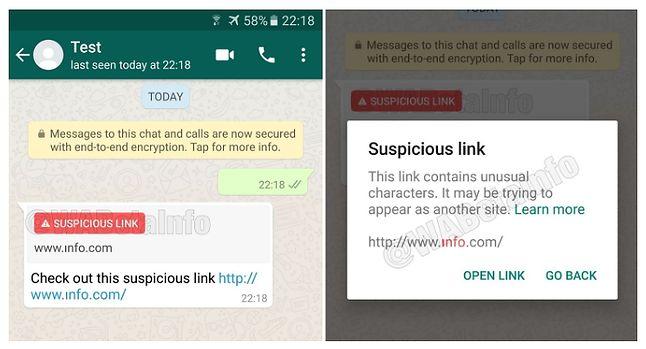 Jedno z zabezpieczeń WhatsAppa przed dezinformacją, czyli oznaczanie podejrzanych linków. Źródło: MSPoweruser.