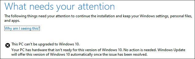 Komunikat o błędzie instalacji majowej aktualizacji Windows 10, źródło: Windows Support.