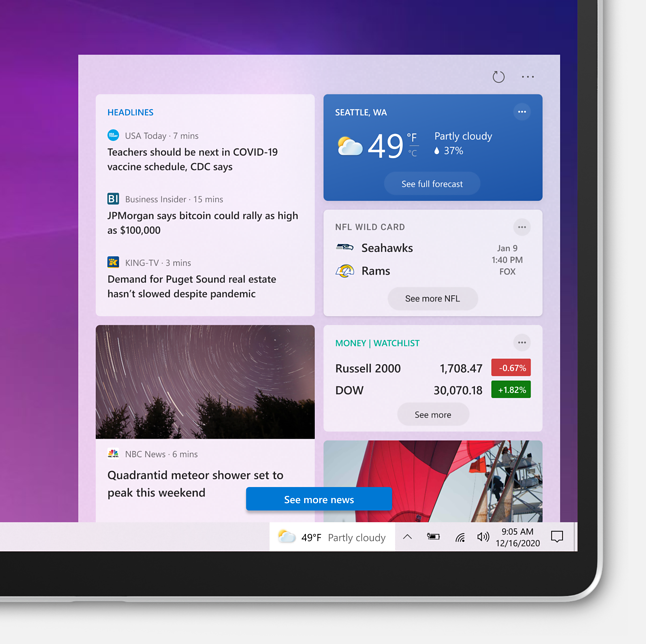 Nowy element interfejsu Windows 10 na razie nie jest dostępny w Polsce, źródło: Microsoft.