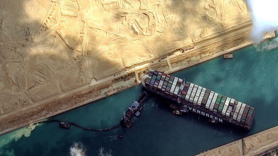 Ever Given zablokował Kanał Sueski [fot. Getty Images/Satellite image (c) 2021 Maxar Technologies]