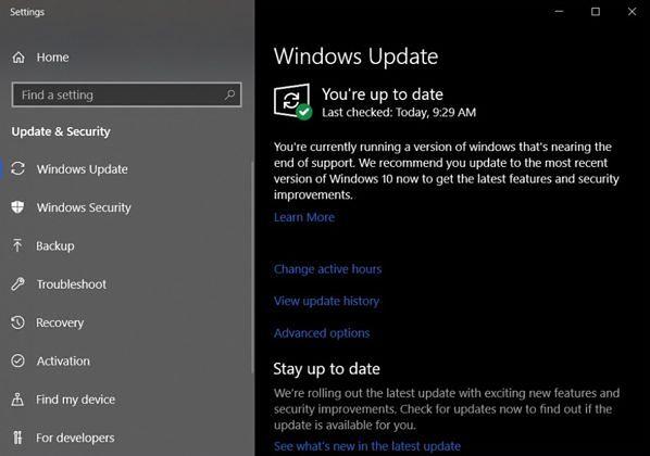 Ostrzeżenie o końcu wsparcia Windows 10 1803, źródło: Windows Latest.