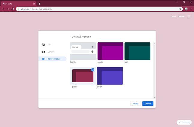 Nowe opcje personalizacji pustej karty w Chrome.