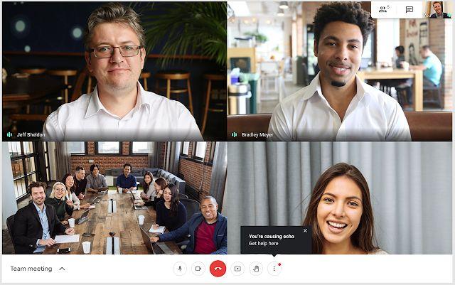 Powiadomienie o echu w czasie rozmowy w Google Meet
