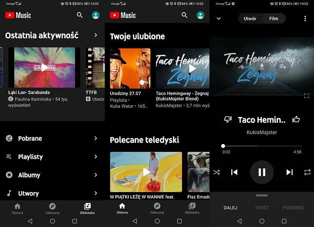 YouTube Music wygląda nowocześniej niż Google Muzyka Play, fot. Jakub Wątor.