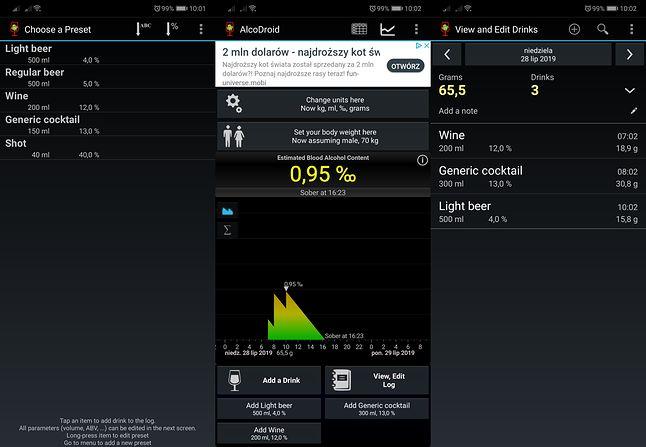 AlcoDroid na Androidzie.