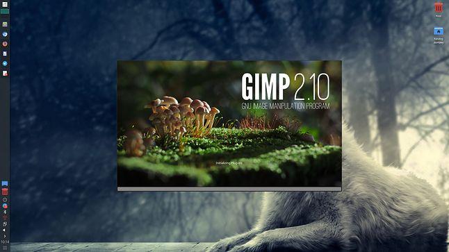 GIMP 2.10 z nowym splashem: bardzo ładne grzybki