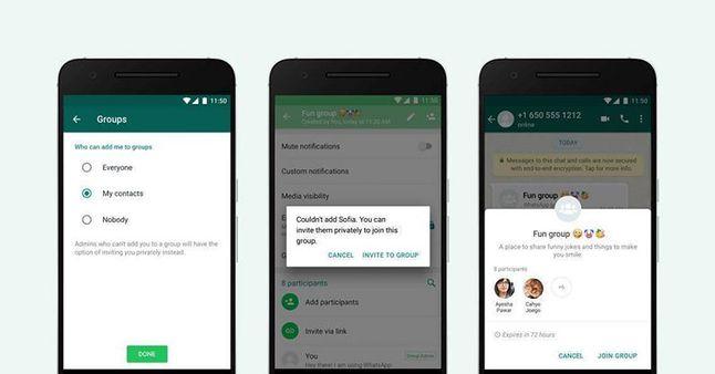 WhatsApp w anglojęzycznej wersji i ustawienia rozmów grupowych, źródło: The Next Web.