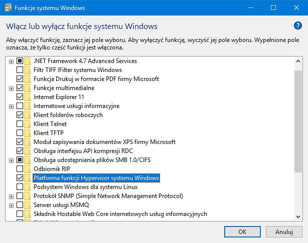 Windows Hypervisor Platform w ustawieniach Funkcji systemu Windows.