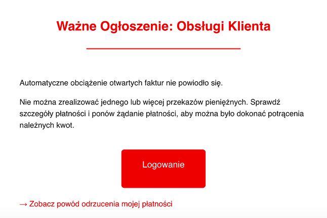 Fałszywa wiadomość kierowana do klientów Home.pl, fot. Sekurak.