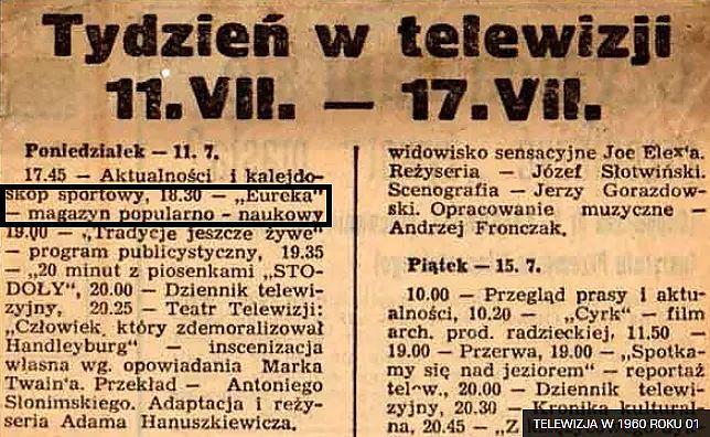 Program był pokazywany w poniedziałki o godzinie 18.30 (fot. https://gadzetomania.pl/31080,telewizja-w-1960-roku)
