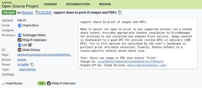 Commit dotyczący wygodnego drukowania w Androidzie, źródło: AOSP.