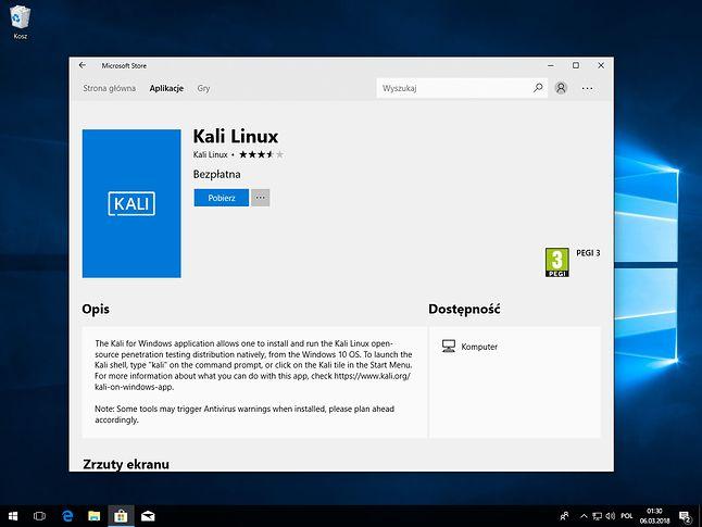 Zaufany Kali Linux w Microsoft Store