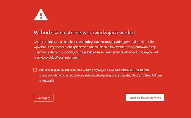 Ostrzeżenie o niebezpiecznej witrynie w Google Chrome.