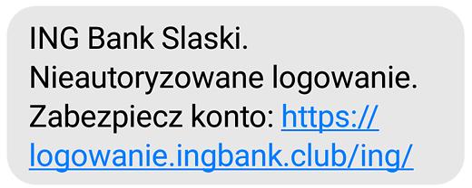 Przykład wiadomości SMS od oszustów, źródło: ING.