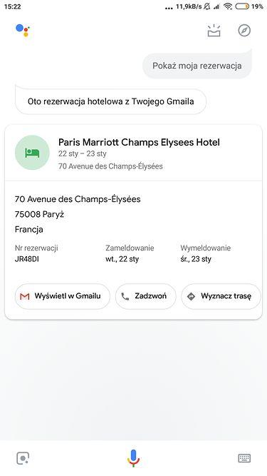 widok rezerwacji hotelu na podstawie e-maila od organizatora wyjazdu
