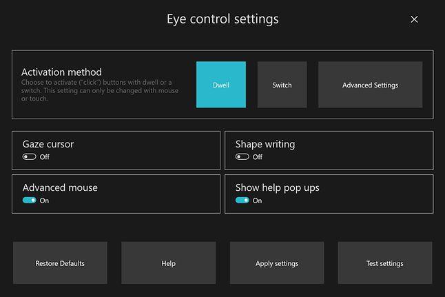 Ustawienia sterowania wzrokiem w Windows 10, źródło: Windows Blog.