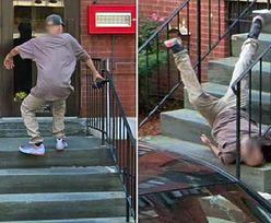 Groźny upadek mężczyzny ze schodów. Wszystko uchwyciła kamera Google