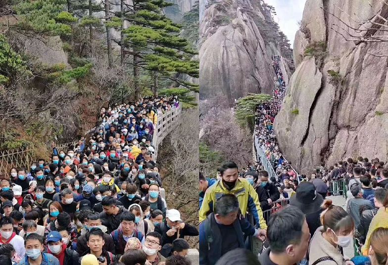 Koronawirus w Chinach. Tłumy ludzi na ulicach i w parkach, ignorują zagrożenie i ograniczenia