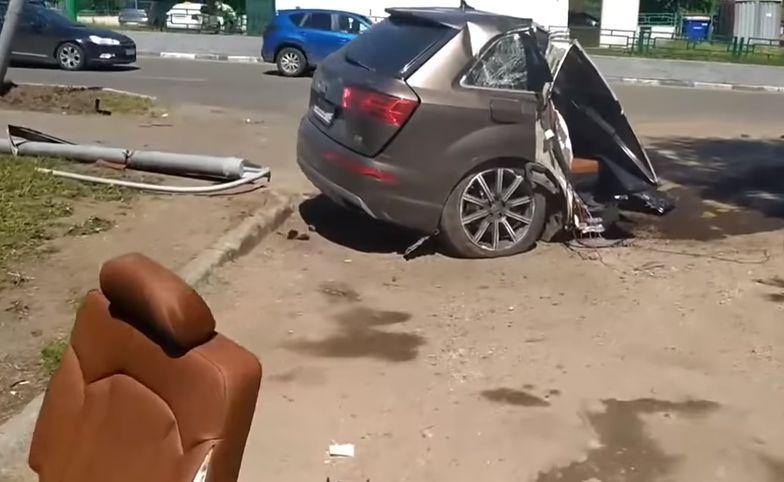 Audi Q7 rozerwane na pół w Moskwie. Szok, bo kierowca przeżył